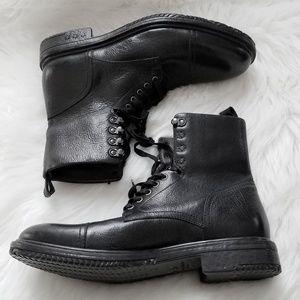 John Varvatos Black Leather Moto Boots Star Laceup